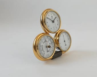 WEATHER STATION Italy BICCHIELLI brass has 3 Vintage dial