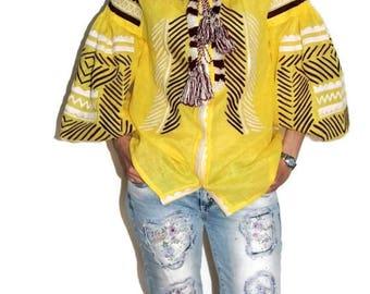 Embroidered boho blouse Bohemian Style Ukrainian Shirt Custom Embroidery Yellow Linen Vyshyvanka Ethnic Folk Blouses