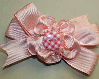 Pink hair bow, infant toddler girl hair bow