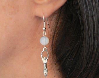 Moonstone & Goddess Earrings Silver-plated Fishhooks Handmade Pagan Earrings