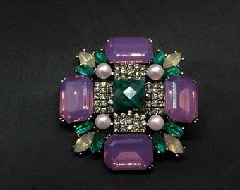 Art deco hair clip, purple, jade, museum piece, vintage style