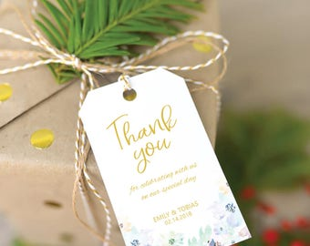 Watercolor Floral and Gold Personalized Wedding Favors Tags Printable (Size M), Watercolor thank you tags, Wedding Thank you Tags Template