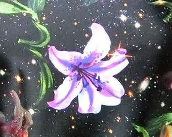 Digital print lily on black faux printed silk satin fabric 156cm Wide for dressmaking, Decor by the meter YGST -5011