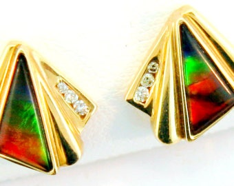Pair of  Trilion Shaped Canadian Ammolite and Diamond set in 14k White Gold