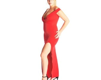 Feona Bandeau Wrap Front Split Maxi Dress - Red