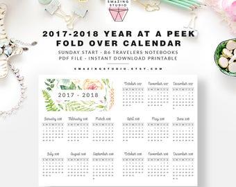B6 Insert, Oct 2017 - Dec 2018 Year Calendar Printable, B6 Travelers Notebook Insert, B6 Printable Insert, B6 TN, B6 Planner Insert Pocket