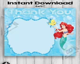 Little Mermaid Thank You Card Blank, Disney Little Mermaid, Ariel Thank You Card, Little Mermaid Birthday, Mermaid Thank You Card, Princess