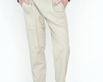 VINTAGE White Beige Retro Bottom Trousers