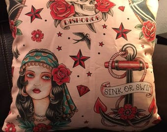 Old School Tattoo Style Throw Pillow