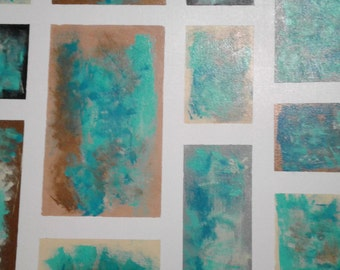 Brushed Squares in Browns and Blues