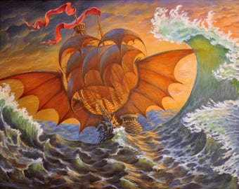 Sea ghost fantasy, surrealism oil painting 23.62x31.5 in