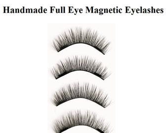 Full Eye Magnetic Eyelashes 100% Ultra Soft Fiber High Quality Full Strip Natural Curve Ultra Thin Double Magnets Glamorous Look Reusable