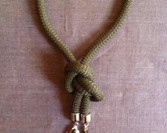 Green forest color necklace with natural stone , collezione Les gris gris by FrancescaB
