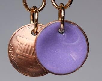 Enameled Penny Earrings-Mauve Purple