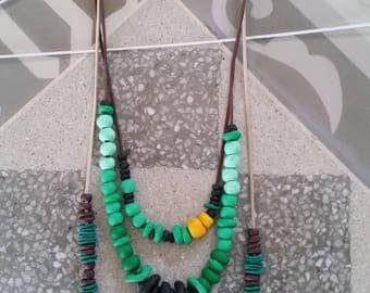 Longs beadeds necklaces -3 Modern necklaces - Long necklace - Green Statement necklace - Bohochic necklace - Polymer clay jewelry