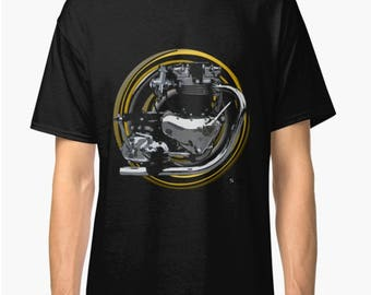 Triumph Bonneville classic engine inspired Motorcycle art T-Shirt by INISHED
