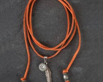 Orange Leather Choker Necklace with Crystal Charm