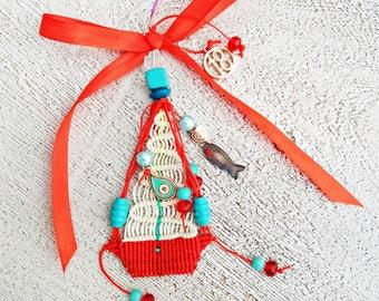 Christmas Lucky Charm, Handmade Macrame, Christmas Lucky Charm, Ornament,Unique gift