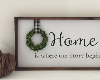 Home is Where Our Story Begins Handcrafted Wood Sign Home Framed Wood Sign Farmhouse Sign And Boxwood Wreath Gallery Frame Sign Painted Sign