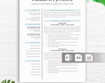 Professional Modern Resume Template For Word, Creative Resume Design, CV  Template For Word,