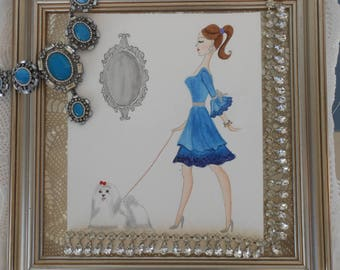 Print With A Girl In Blue Dress With A Maltese Dog