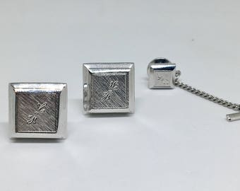Dante Cufflinks and Tie Tac Set - Hand Engraved
