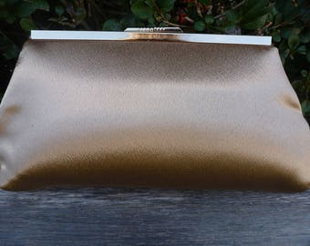 Handmade, gold satin, Clutch bag, wedding handbag, evening bag, make-up bag