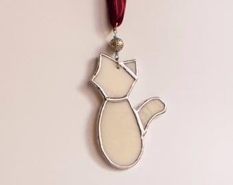 White Cat Glass Pendant