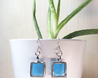 Handmade Dangle Earrings, 925 Sterling Silver Hooks, Stained Glass, Tiffany Technique. Unique Gift