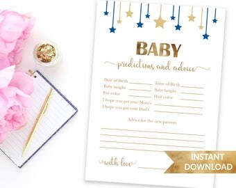 Navy blue baby prediction and advice card | Baby shower advice card | Instant download | Baby boy blue theme shower game printable
