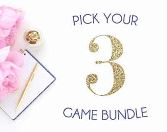 Pick any 3 baby shower games in my shop | Baby shower game bundle | Navy blue shower games package | It's a boy blue theme shower bundle