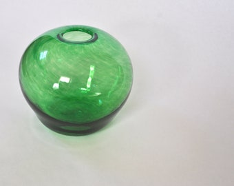Hand Blown Glass Vase: Green Round Vessel, Spring Decor, Easter Decorations, Small Flower Vase Art by Graham Judge