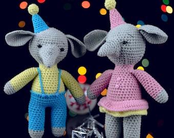 Elephant Toy, Elephant Amigurumi, Plush Art Animal, Crochet Elephant, Handmade Elephant