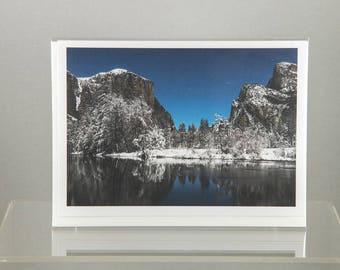 Valley View – Winter Wonderland at Night, Yosemite National Park - Greeting Card
