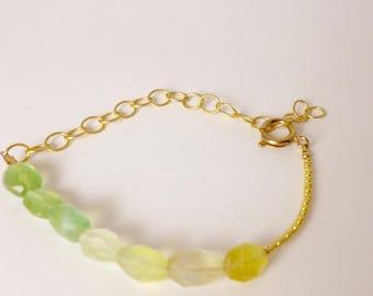prehnite, seed bead, and chain adjustable bracelet