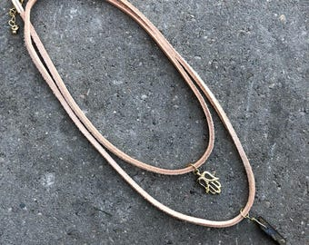 Tan Leather Tourmaline and Gold Hamsa Wrap Choker