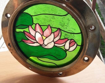 Stained Glass Lily Pad in Ship's Windowframe