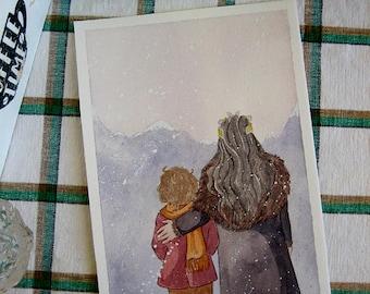 Bilbo and Thorin in the snowfall - original watercolour artwork Bagginshield 16x24 cm