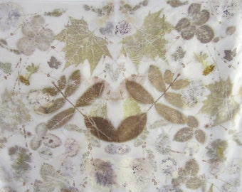 Handkerchief is natural silk with ecoprint. (PC0002)
