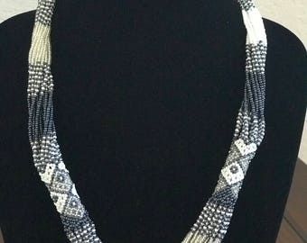 Blue South African Beaded Necklace -  Mvovo Style