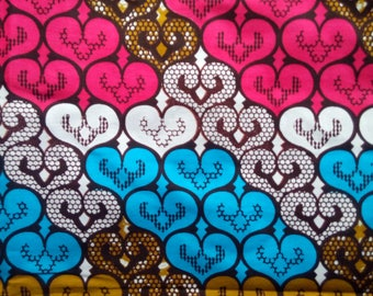 Wax / Ankara fabric (sold by the meter) - pink, blue, white and green hearts