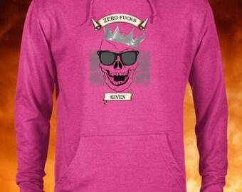 Unisex Skull Zero Fucks Given Hoodie, Skull Hoodie, Skull Hoodies, Skull Prints, Scalp Hoodie, Gothic, Skeleton, Sweatshirt, Hooded, Top