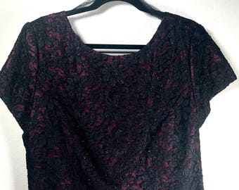 Maroon and Black Floral Lace Top