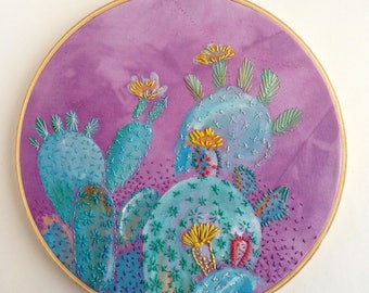 Prickly Pear cactus embroidered painting hoop wall art
