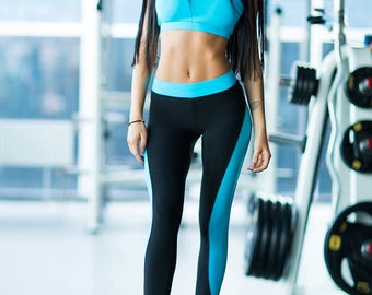 Comfortable Set / Fitness Clothes Women  / Leggings and Tops / Sport Leggings and Tops / Blue / Dancing / Gym Clothes