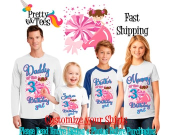 CHEERLEADER Birthday Girl Theme Family WHITE Shirts For the Entire Family Mom Dad Brother and More T-shirts Long/ Short sleeve Raglan TEAM