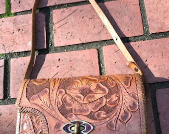Vintage 1960s Tooled Leather Handbag, Flower Pattern, Mexico