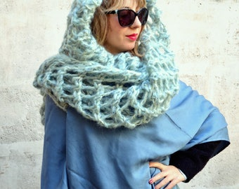 Hooded long scarf made of grey silk with a hood of light blue and silver wool / silk scarf / silk shawl / wool shawl / knitted shawl
