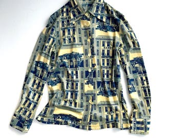 Vintage cityscape novelty print knitted shirt