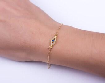 Gold Filled Evil eye bracelet - Evil Eye Jewelry - Tiny Evil Eye Bracelet - Kaballah Evil Eye Bracelet - Nazar Bracelet - 0049BB
